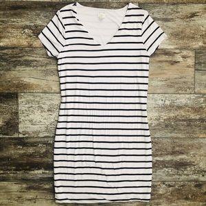 Casual Striped V-Neck T-Shirt Dress
